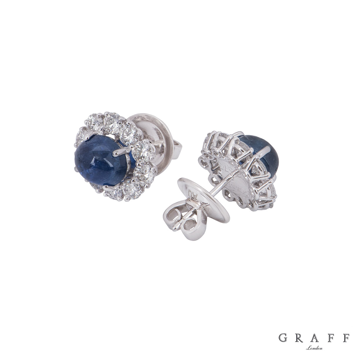 Graff White Gold Diamond And Sapphire Earrings